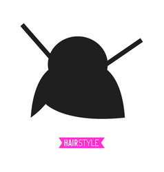 black flat silhouette hairstyle on white vector image