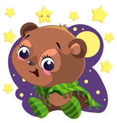 cute cartoon bear with blanket sitting in night vector image