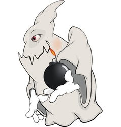 Ghost and bomb cartoon vector image vector image