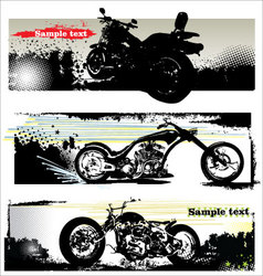 grunge motorcycle banners vector image vector image