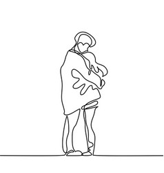 happy couple warms in their arms under boys coat vector image vector image
