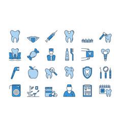 07 blue dental care icons set vector image