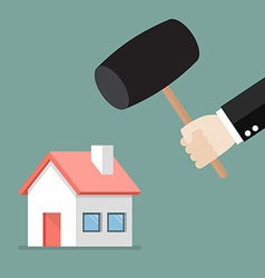 Business man handle a hammer to destroy a house vector image vector image