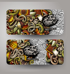 Cartoon colorful doodles cafe banners vector