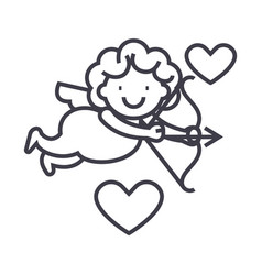 cupid angel line icon sign vector image vector image
