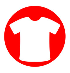 t-shirt sign white icon in red circle on vector image
