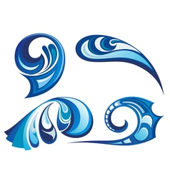 Water wave symbols vector image vector image