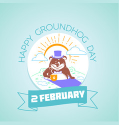 2 february calendar happy groundhog day vector