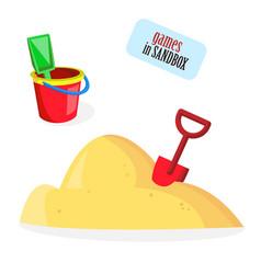 baby bucket sand shovel toys vector image