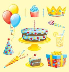 Cakes and birthday theme vector