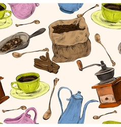 Coffee set seamless colored pattern vector image vector image