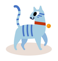 cute striped blue cartoon cat isolated on white vector image vector image