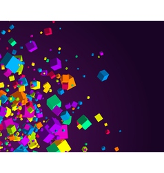 fly colorful 3d cubes background vector image