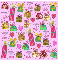 gifts on a pink background vector image vector image