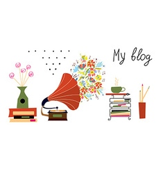 Music blog banner with gramophone and vintage vector image