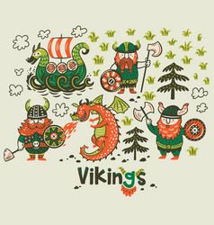 Nordic collection with vikings dragon and ship in vector