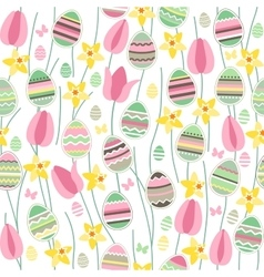 Seamless pattern with easter willow and painted vector image vector image