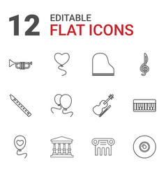 12 classical icons vector image