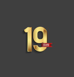 19 years anniversary simple design with golden vector