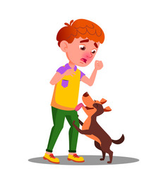 Allergic sneezing boy with a dog isolated vector