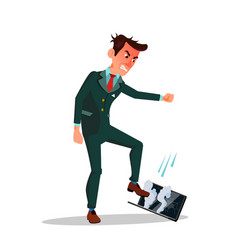angry businessman treading his laptop flat vector image