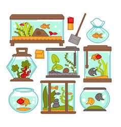 aquarium fish tank icons vector image