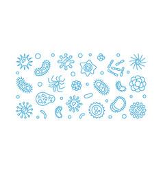 Bacteria blue outline horizontal vector