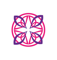 beautiful and colorful circle flower logo round vector image