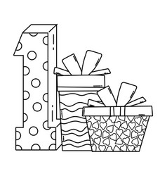 Birthday gift boxes with number in black and white vector