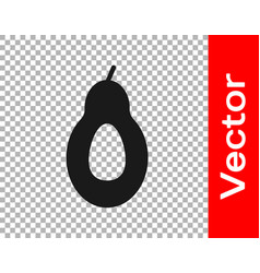 Black avocado fruit icon isolated on transparent vector
