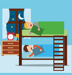 Boys asleep in bunk bed in night bedroom vector