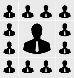 business man icons silhouettes people in suit vector image