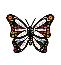 butterfly with mexican culture decoration flat vector image