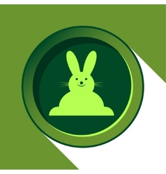 button with light green Easter bunny and shadow vector image