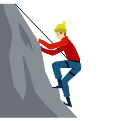 Cartoon man climbing a mountain with safety vector