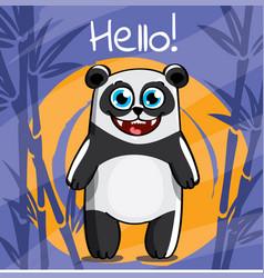 Cartoon panda hello vector
