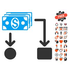 Cashflow icon with dating bonus vector