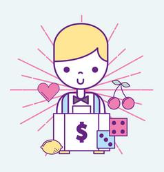 Casino croupier male money suitcase dices game vector