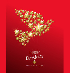 christmas gold star shape dove on red background vector image