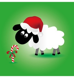 Christmas sheep with candy stick and santa hat vector