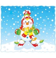 Christmas Snowman skier vector image