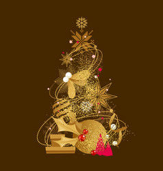 christmas tree in decorative style vector image