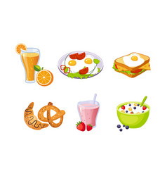 Collection breakfast meal delicious healthy vector