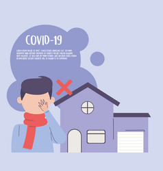 Covid 19 quarantine avoid touching eyes vector