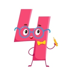 Cute and funny colorful 4 number characters vector