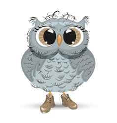 cute cartoon owl wise animal vector image