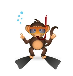 cute chimpanzee diver in summer sport little vector image