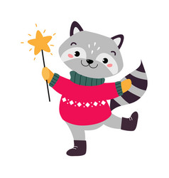 cute raccoon in warm knitted jumper xmas animal vector image