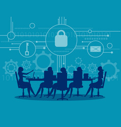 Cyber security business meeting security concept vector