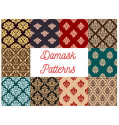 Damask floral pattern seamless set vector